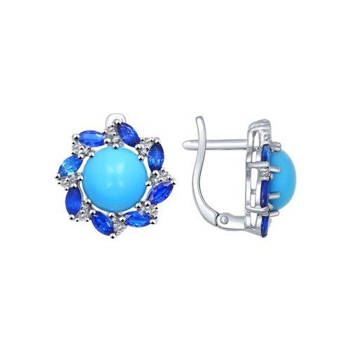 Серьги из серебра с бирюзой (синт.) и синими фианитами