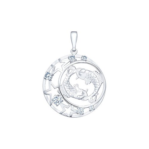 Подвеска знак зодиака из серебра с фианитами (94030097) - фото