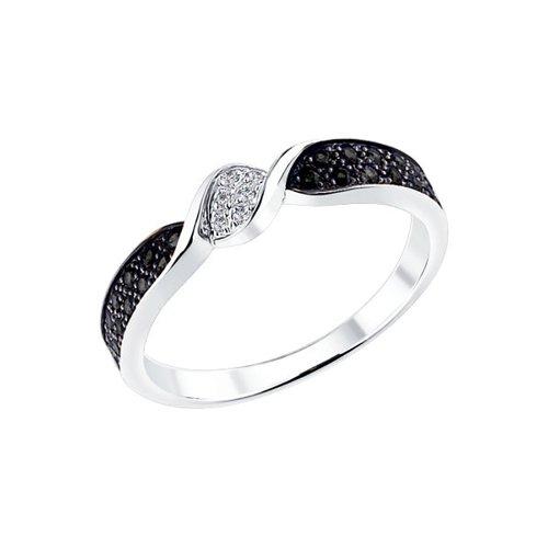 Кольцо из белого золота с чёрными и белыми бриллиантами