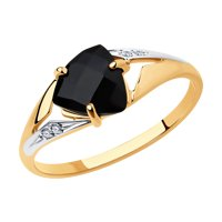 Кольцо из золота с чёрным агатом и фианитами