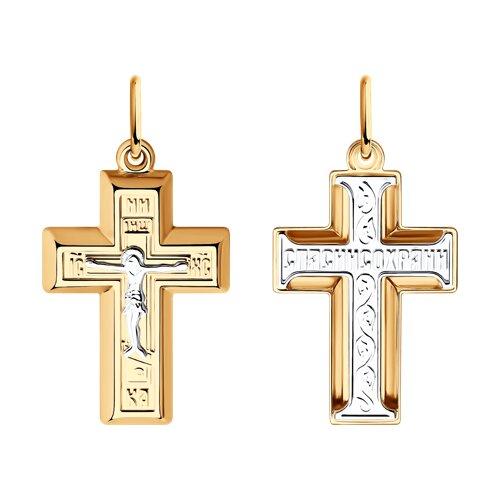 Подвеска- крест из комбинированного золота 121399 sokolov фото