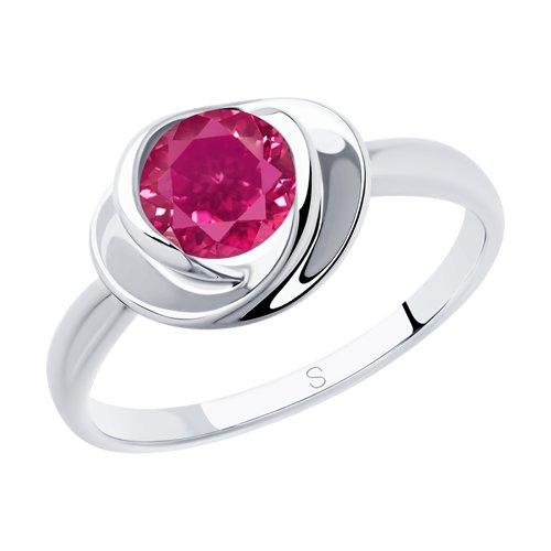 Кольцо из серебра с фианитом (94012925) - фото