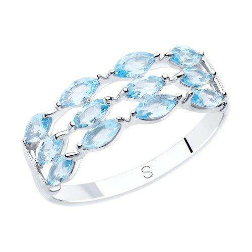 Кольцо из серебра с топазами (92011876) - фото