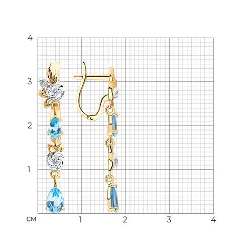 Серьги из золота с топазами и фианитами 725918 SOKOLOV фото 2