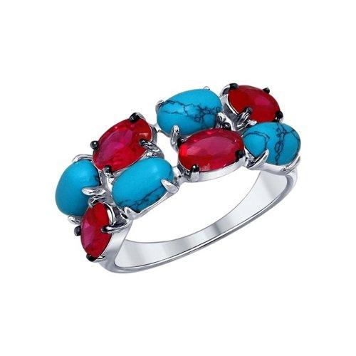 Кольцо из серебра с бирюзой (синт.) и красными фианитами