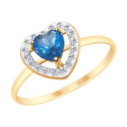 Кольцо из золота с синим топазом и фианитами (715156) - фото