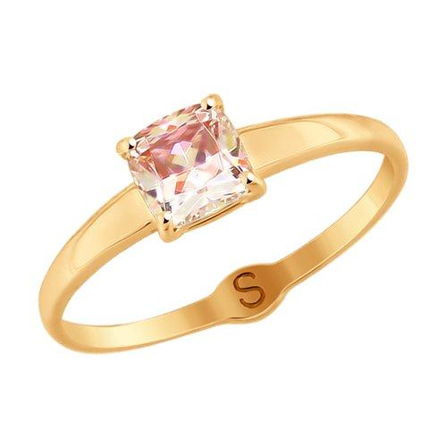 Кольцо из золота с розовым Swarovski Zirconia (81010371) - фото