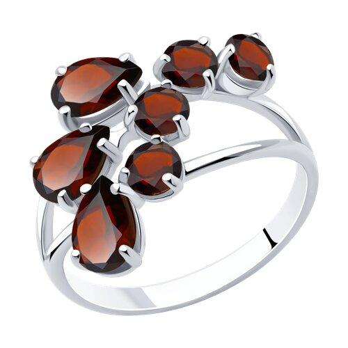 Кольцо из серебра с гранатами (92010014) - фото