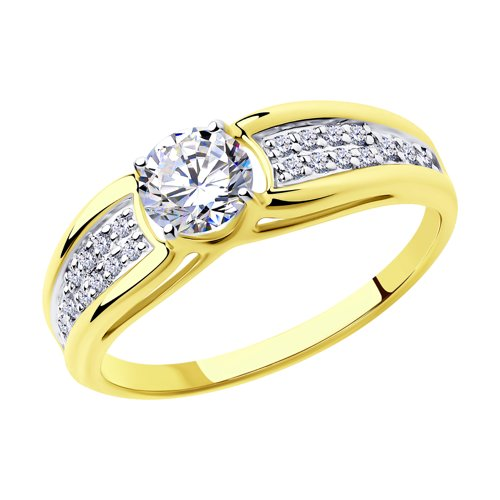 Кольцо из желтого золота с фианитами (018337-2) - фото