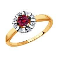 Кольцо из золота с бриллиантами и красным корунд (синт.)