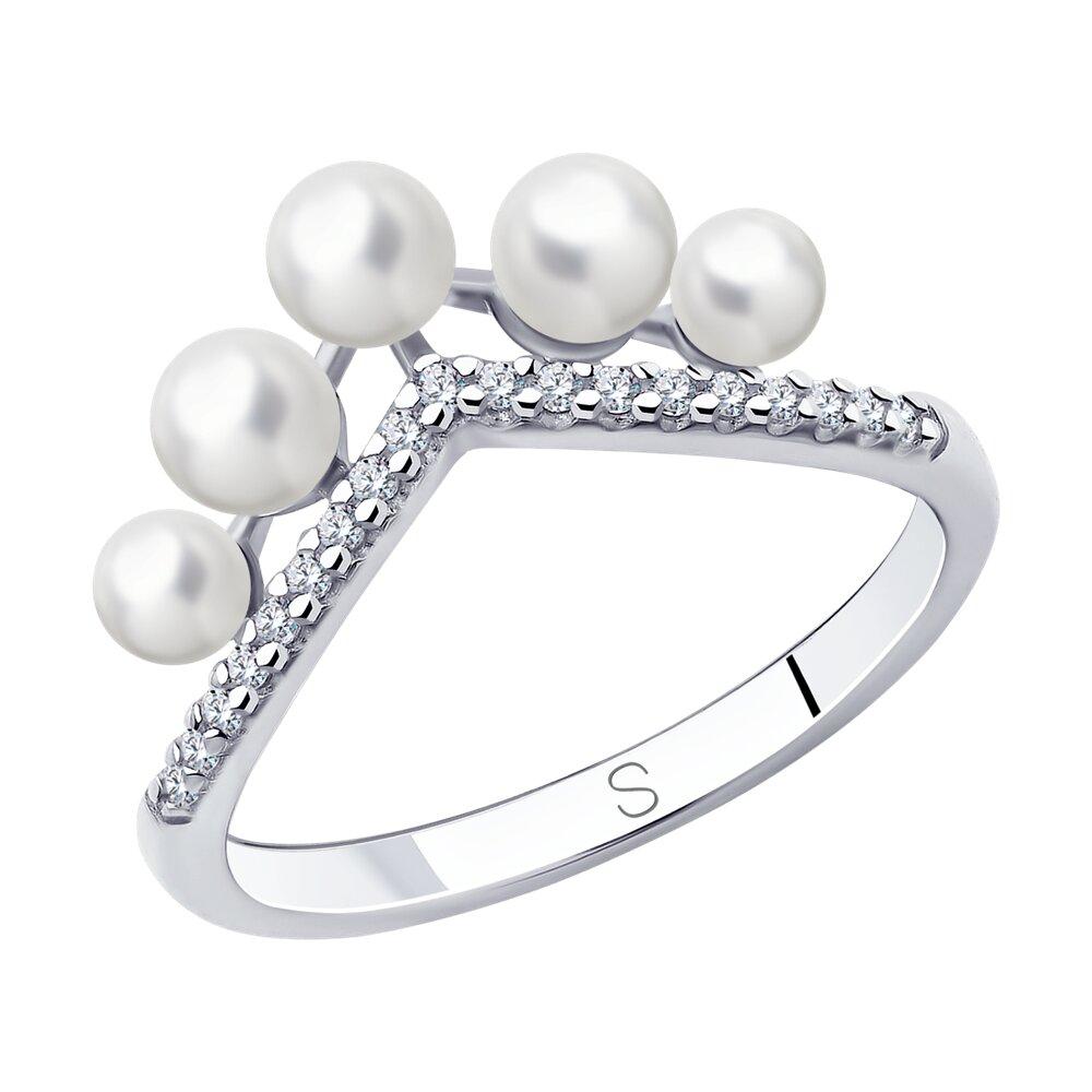 Кольцо SOKOLOV из серебра с жемчугом и фианитами фото