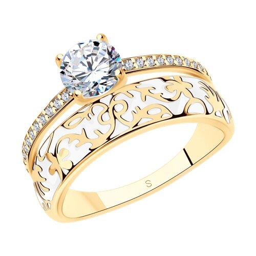 Позолоченное кольцо с эмалью и фианитам (93010322) - фото