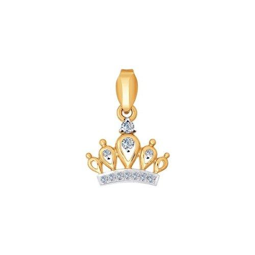 Подвеска «Корона» из золота с бриллиантами