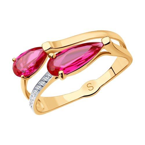 Кольцо из золота с красными корундами и фианитами (715264) - фото