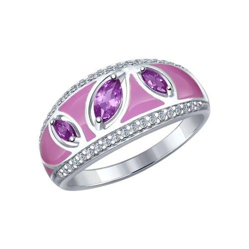 Кольцо из серебра с эмалью с бесцветными и сиреневыми фианитами
