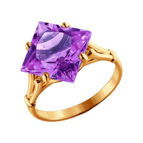 Кольцо SOKOLOV из золота c крупным квадратным аметистом кольцо с крупным аметистом