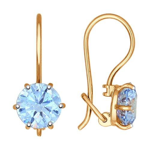 Серьги из золота с голубыми фианитами (027380) - фото