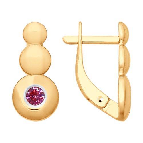 Серьги из золота с фианитами (027829) - фото