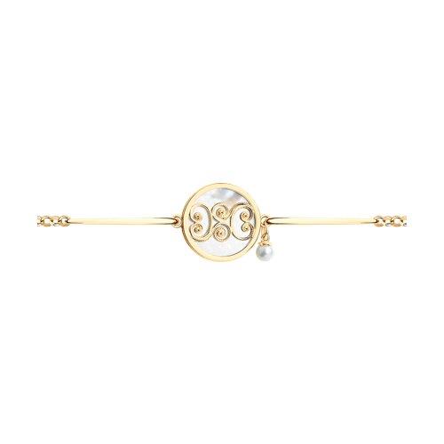 Позолоченный браслет с жемчугом и перламутром