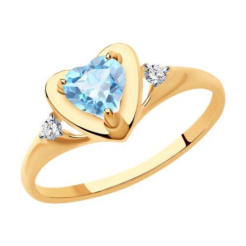Кольцо из золота с топазом и фианитами (37715042) - фото
