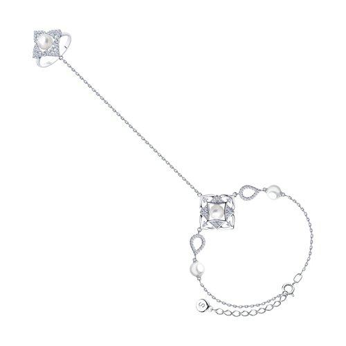 Браслет из серебра с жемчугом, жемчугом Swarovski и фианитами (94050560) - фото