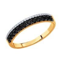 Кольцо из золота с бесцветными и чёрными бриллиантами
