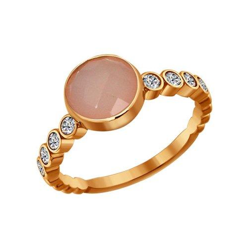 Кольцо из золочёного серебра с розовым агатом и фианитами