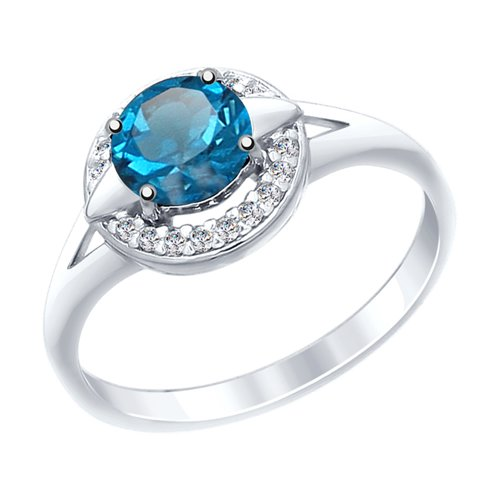 Кольцо из серебра с синим топазом и фианитами (92011459) - фото