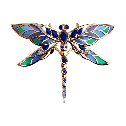 Брошь «Стрекоза»  с корундами и бриллиантами
