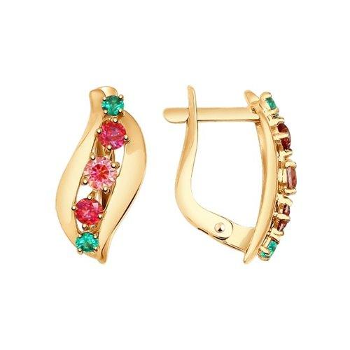 Серьги из золота с красными, розовыми и зелеными фианитами