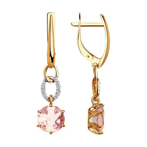 Серьги из золота с бриллиантами и морганитами 6024192 SOKOLOV фото