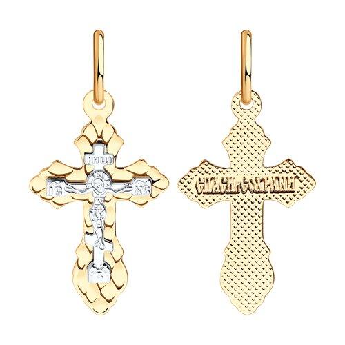 Крест из комбинированного золота с алмазной гранью 121198 sokolov фото