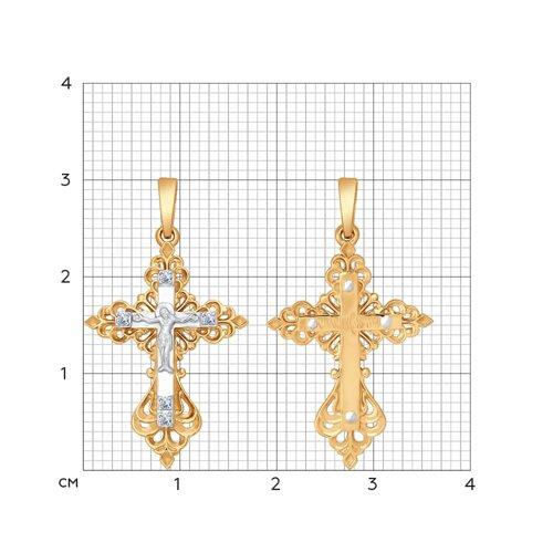 Крест из комбинированного золота с бриллиантами 1120029 SOKOLOV фото 2