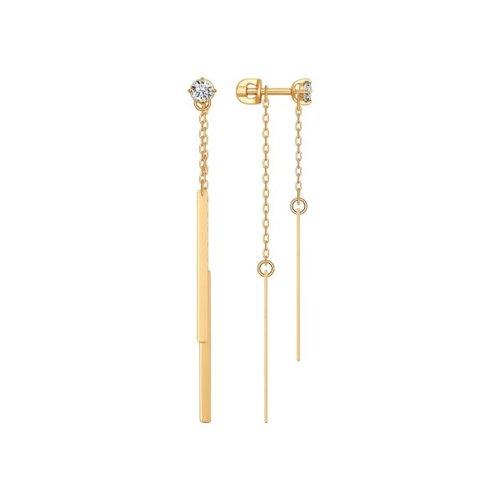 Фото - Серьги длинные SOKOLOV из золота с фианитами серьги длинные sokolov из золота cо swarovski zirkonia