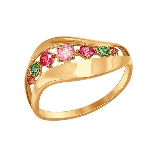 Кольцо из золота с розовыми, сиреневыми  и зелеными фианитами