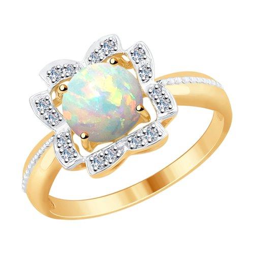 Кольцо из золота с бриллиантами и опалом (6014061) - фото