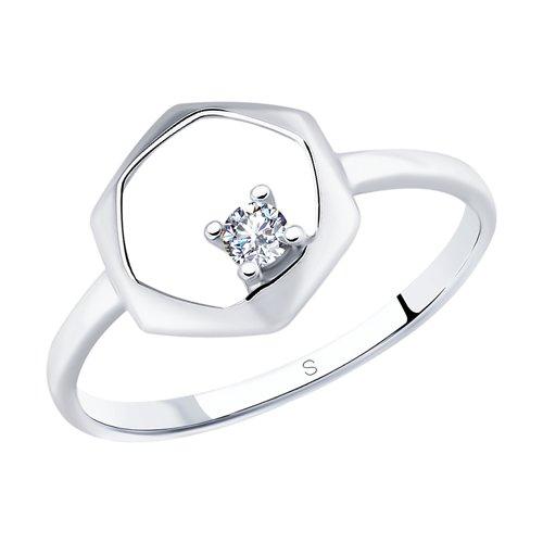 Кольцо из серебра с фианитом (94012838) - фото