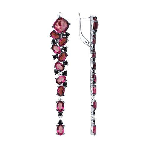 Серьги из серебра с кристаллами Swarovski и фианитами