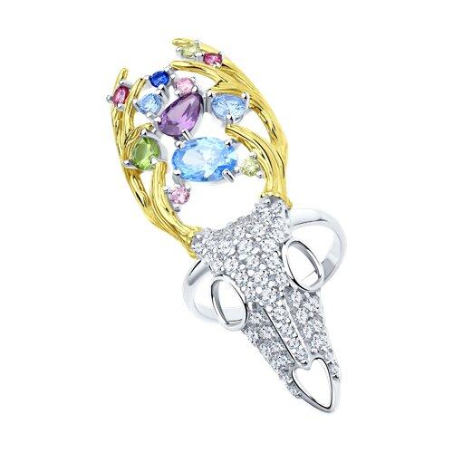 Кольцо из золочёного серебра с фианитами (94013108) - фото