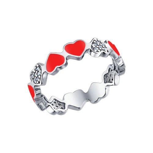 Серебряное кольцо с сердечками SOKOLOV petmax бантик объемный малиновый с сердечками 2шт