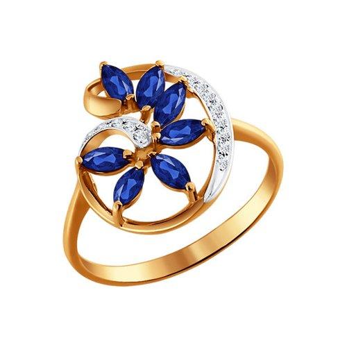 Кольцо из золота с бриллиантами и сапфирами (2010831) - фото