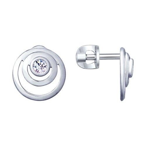 Серьги из серебра с фианитами (94023005) - фото