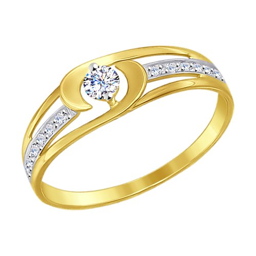 Кольцо из желтого золота (017207-2) - фото