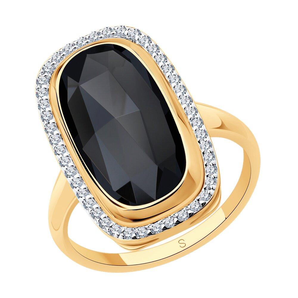 Кольцо SOKOLOV из золота с чёрным агатом и фианитами