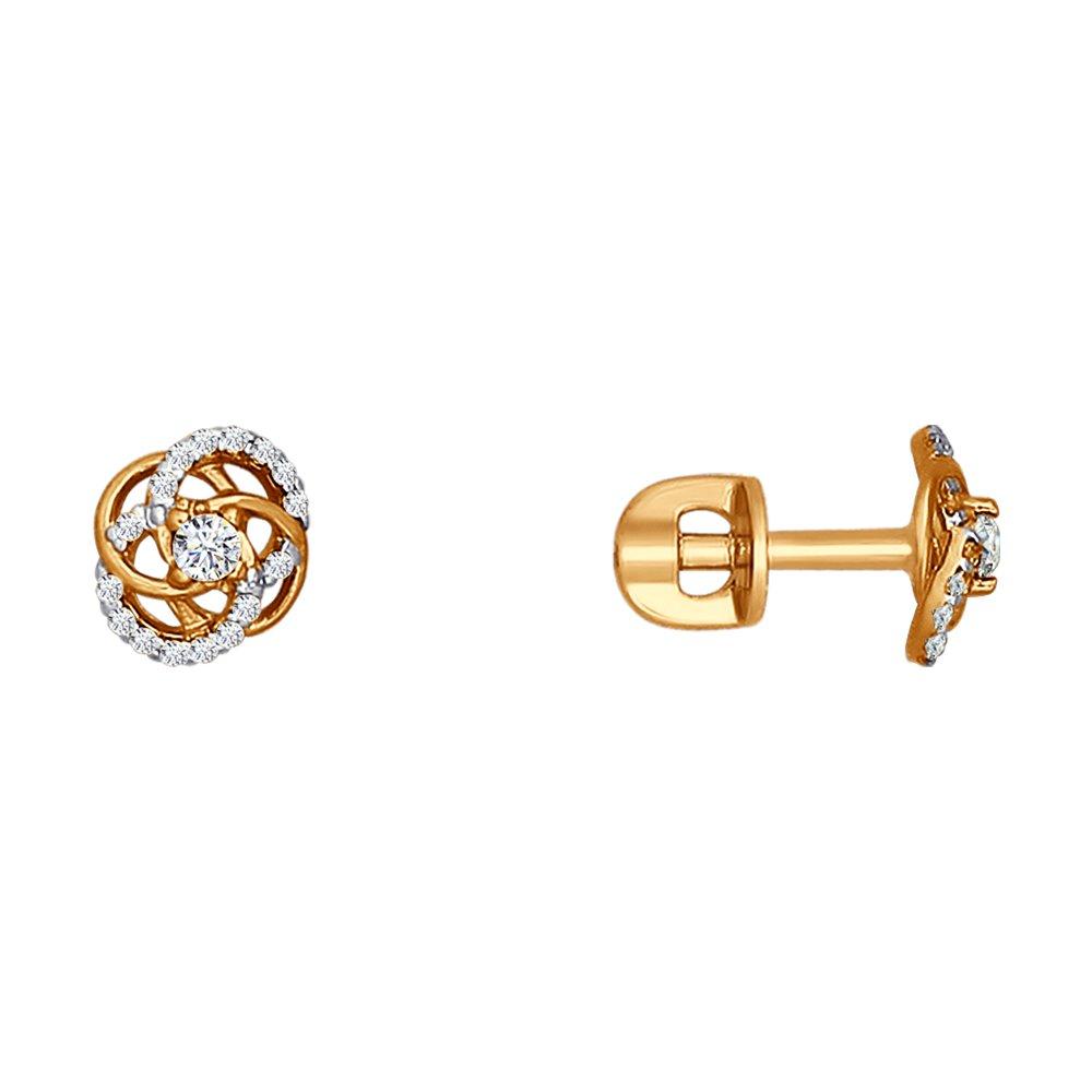 Красивые серьги-гвоздики SOKOLOV из золота