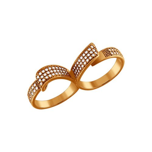 Кольцо на два пальца SOKOLOV из золочёного серебра