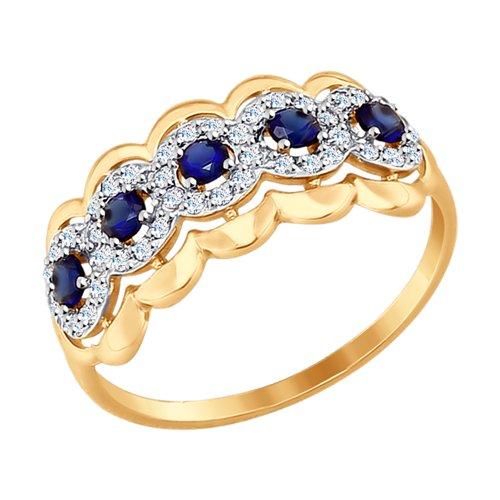 Кольцо из золота с бесцветными и синими фианитами (017490) - фото