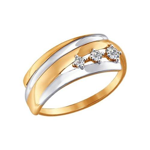 Кольцо из золота с фианитами (017335) - фото