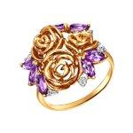 Кольцо из золота c аметистами и фианитами «Розы»