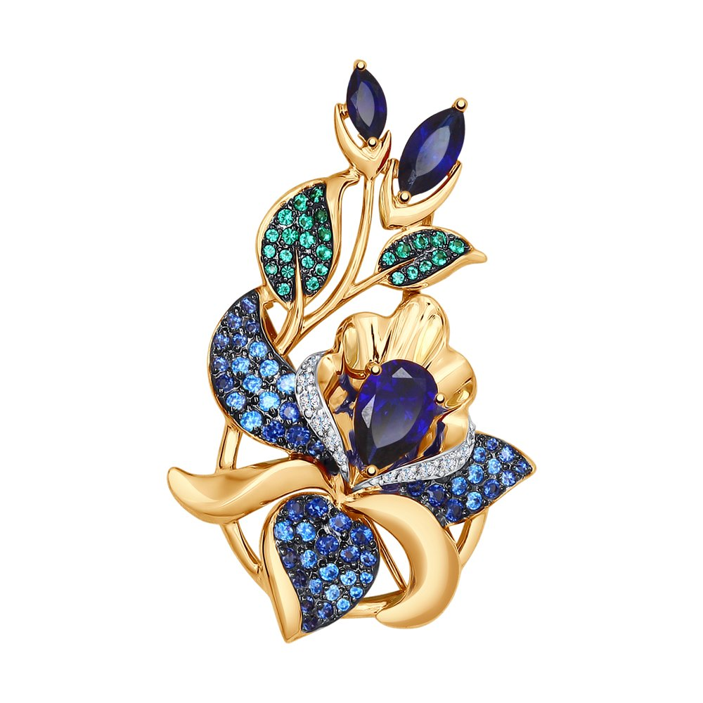 Подвеска SOKOLOV из золота с синими корундами и бесцветными, голубыми, зелеными и синими фианитами подвеска из комбинированного золота с бесцветными и синими фианитами